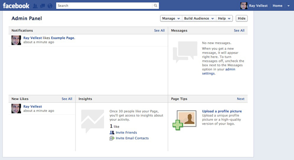 Facebook Example Page Admin Panel Screenshot