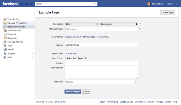 Facebook Page Basic Information Settings Area Screenshot