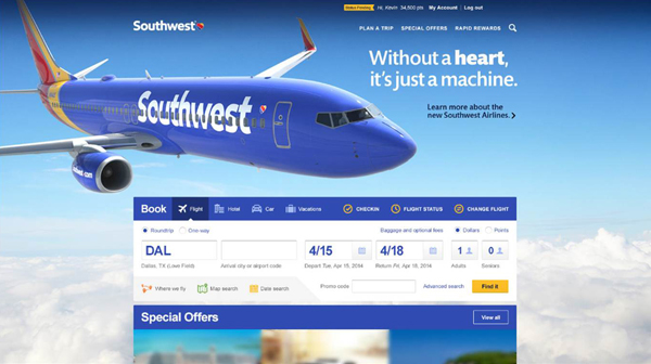 Southwest Airlines New Website