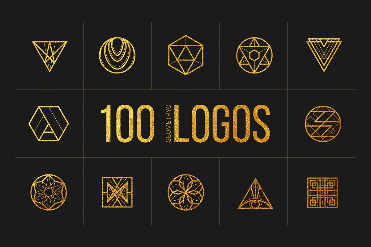 100 Linear Geometric Logos Bundle