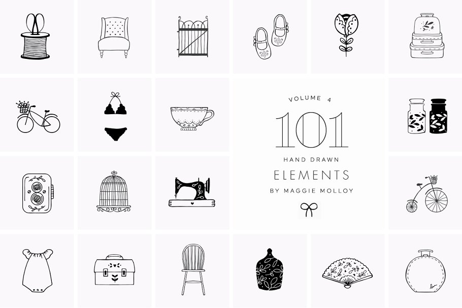 101 Hand Drawn Logo Elements