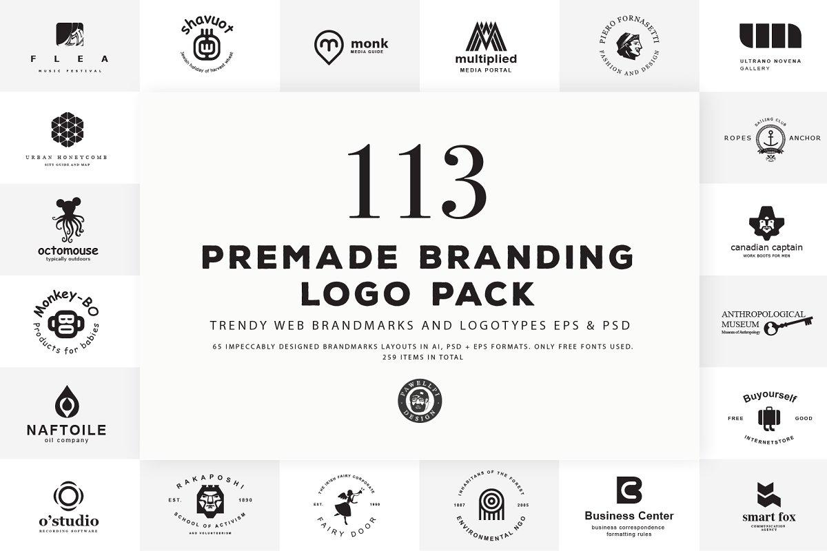 113 Pre-Made Branding Logo Pack