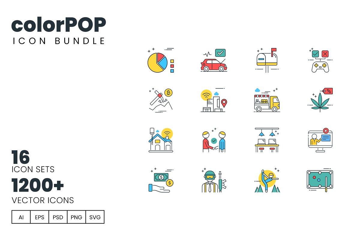 1200 Icons Colorpop Vector Bundle