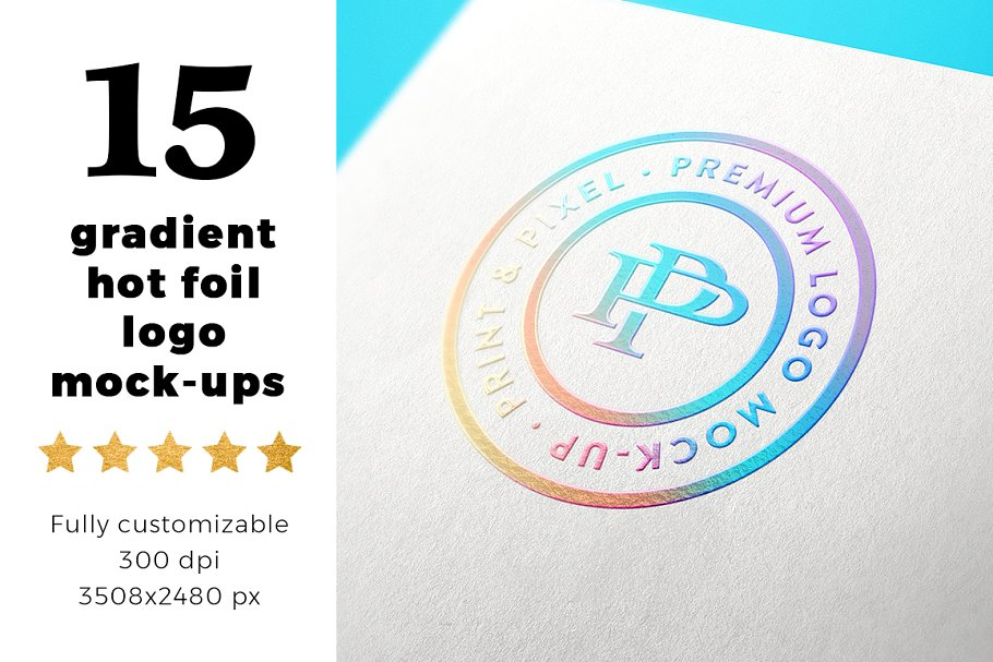 15 Gradient Hot Foil Logo Mockups