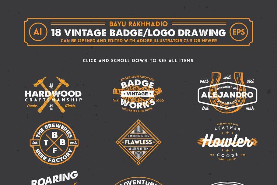18 Hipster Vintage Badge & Logo