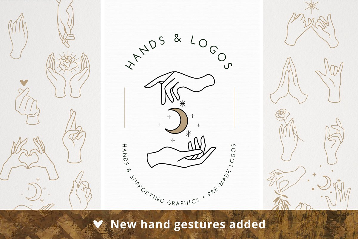 20 Hands & Logo Templates