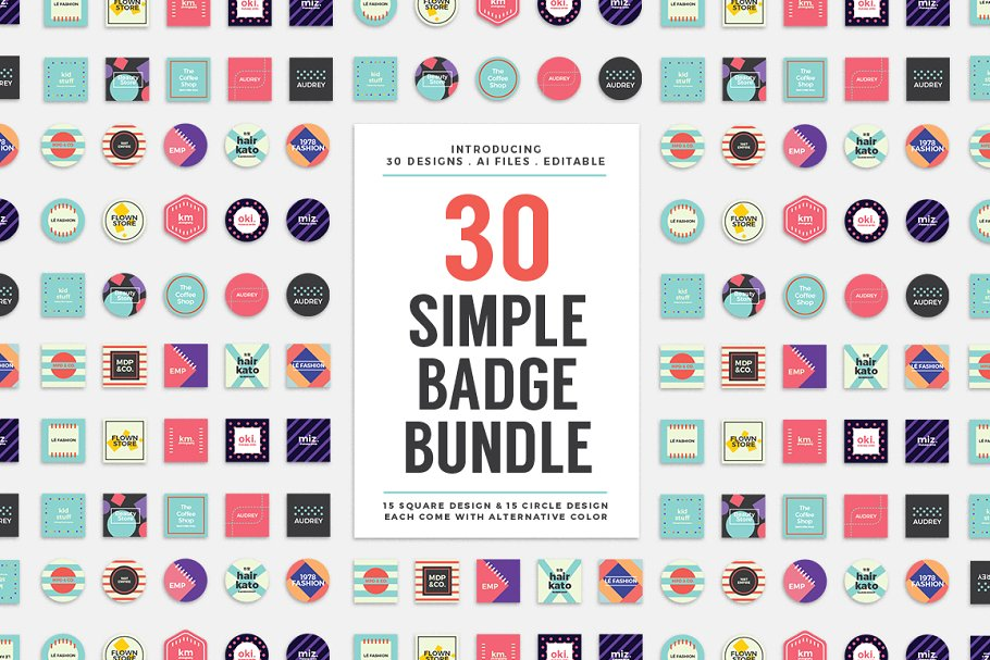 30 Simple Logo Badge Bundle