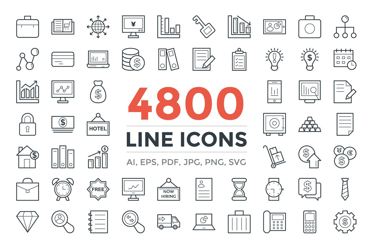 4800 Line Icons Pack