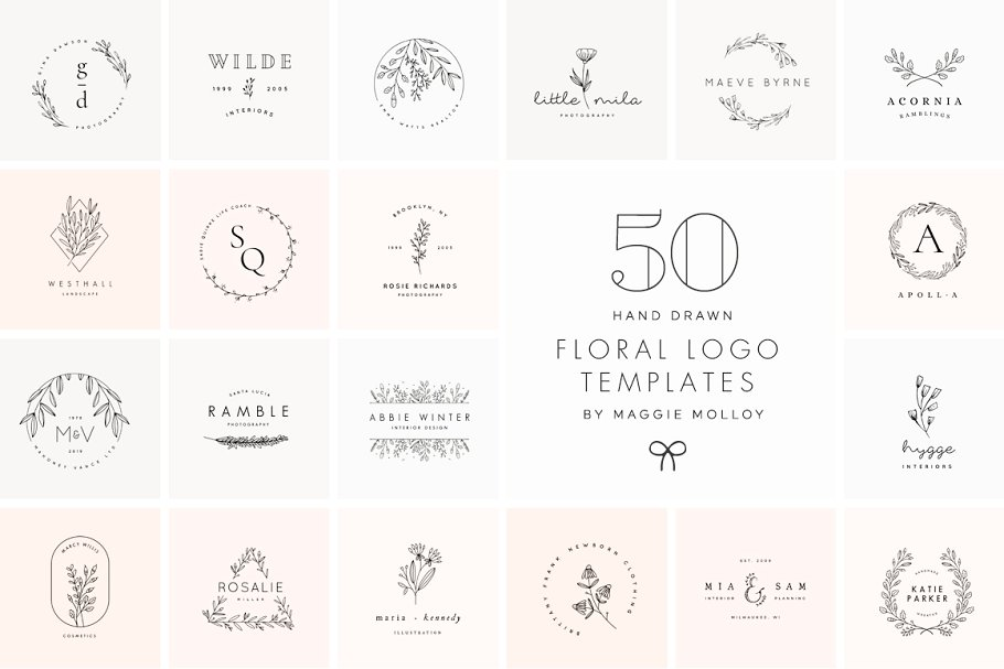 50 Floral Hand Drawn Logo Templates