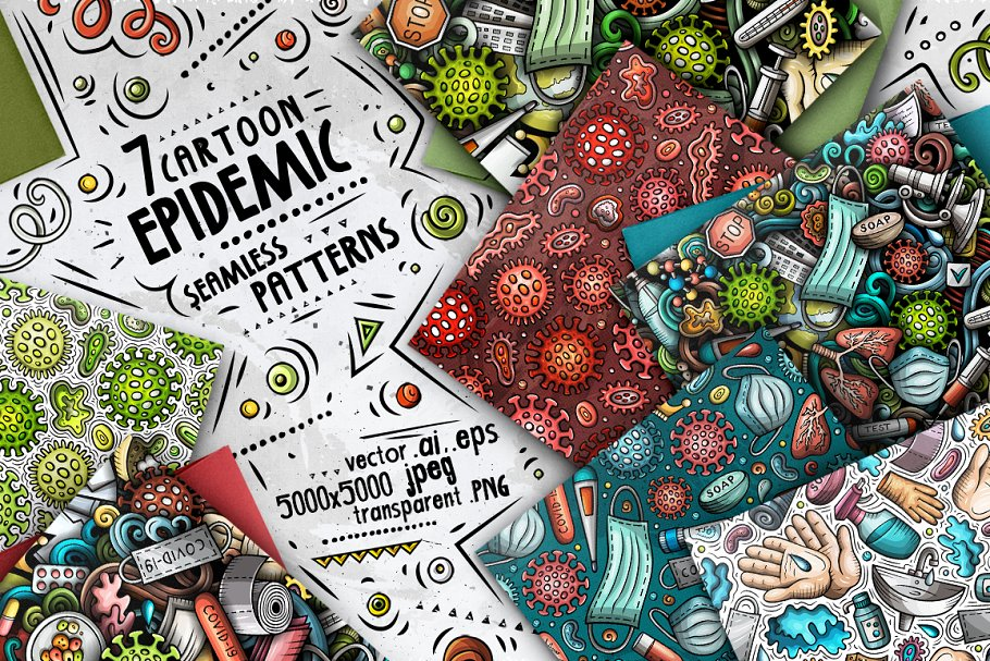 7 Epidemic Cartoon Seamless Patterns