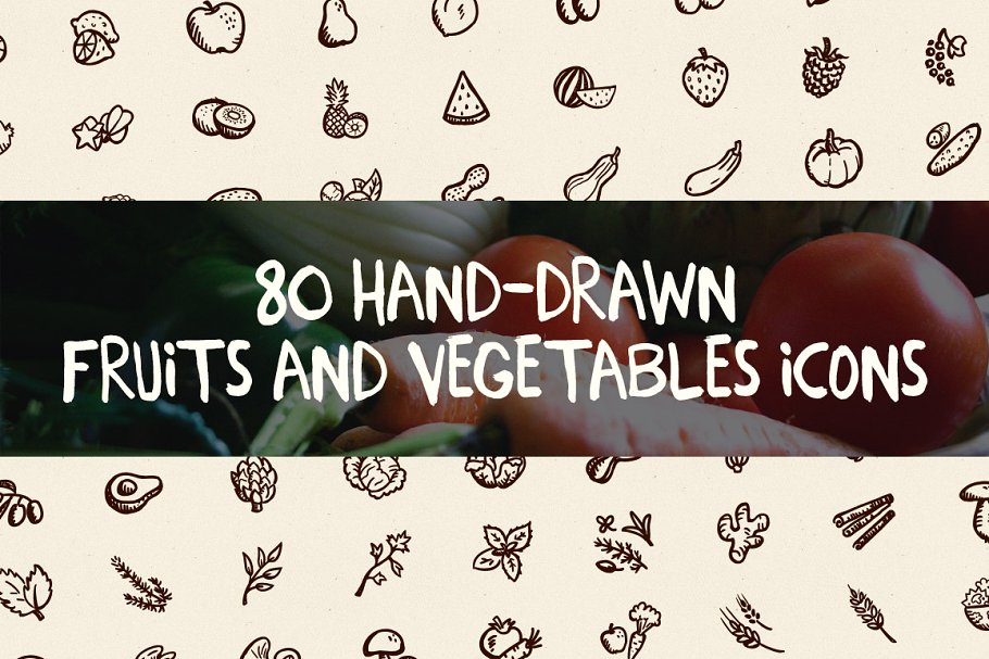 80 Hand-Drawn Fruits And Vegetables