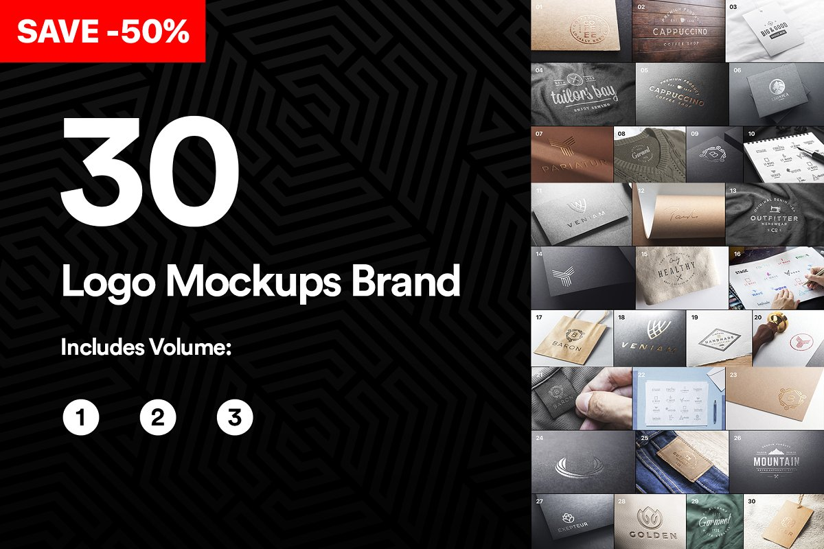 Bundle 30 Logo Mockups Brand 2019