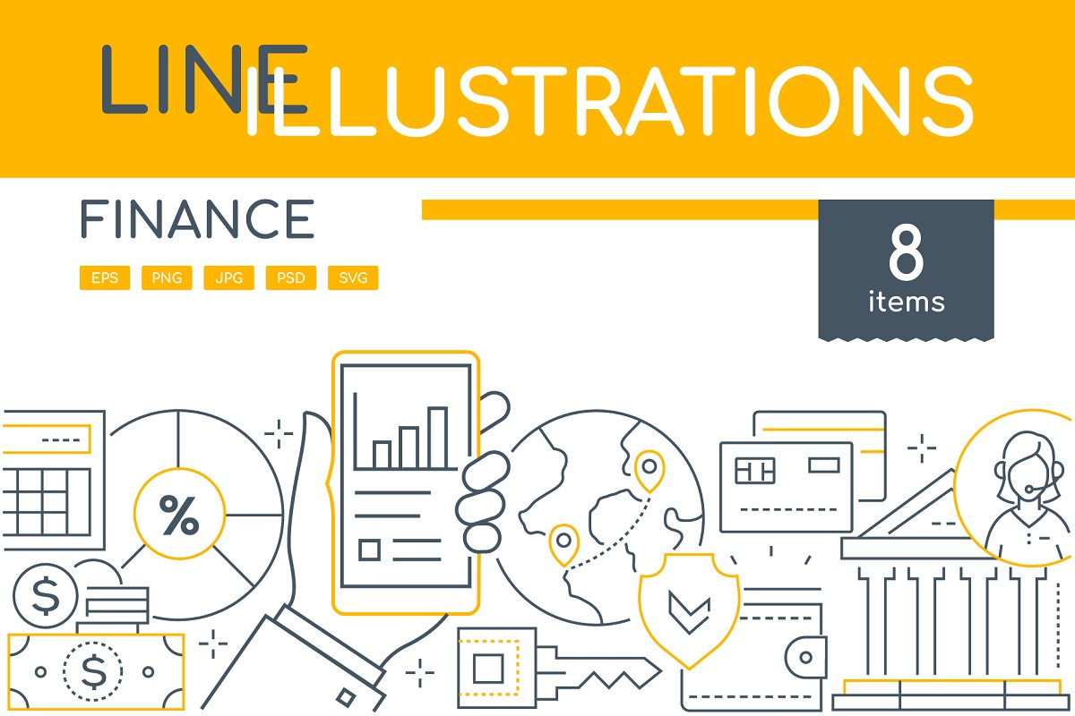 Finance Line Illustrations Bundle