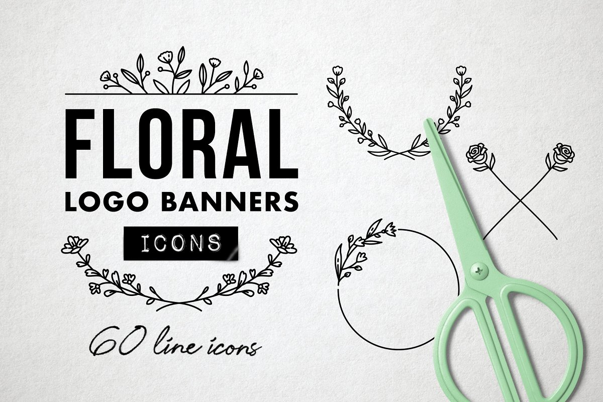 Flower Logo Borders Floral Icons