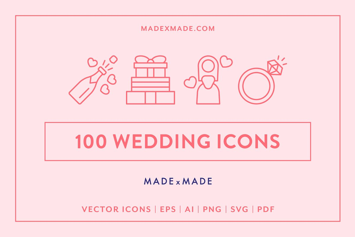 Line Icons Wedding