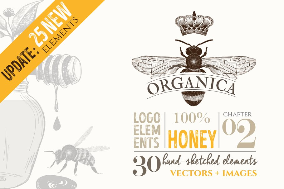 Organic Logo Elements Honey