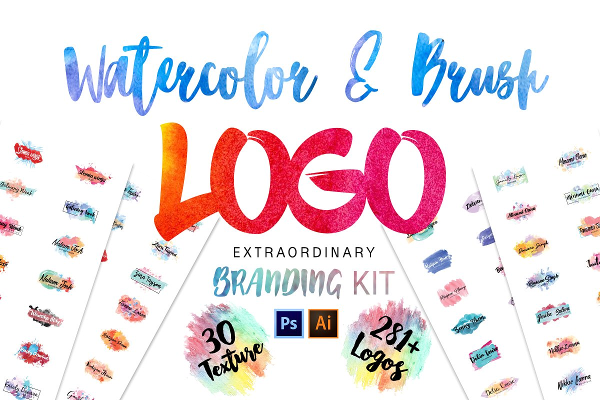 Procreate Brush Logos Branding Kit