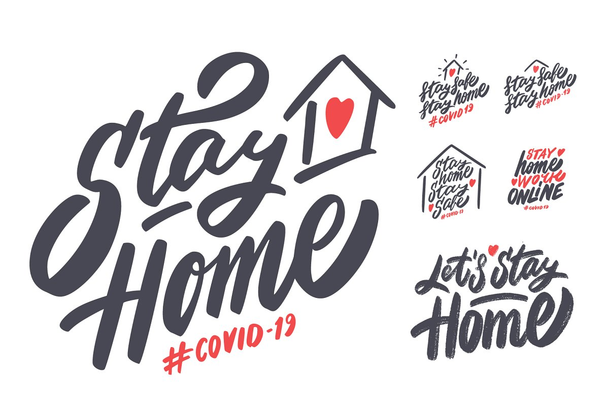 Stay Home COVID-19 Vector Set