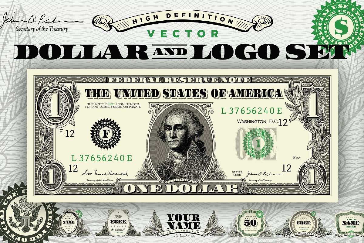 Vector Dollar And Money Logo Set