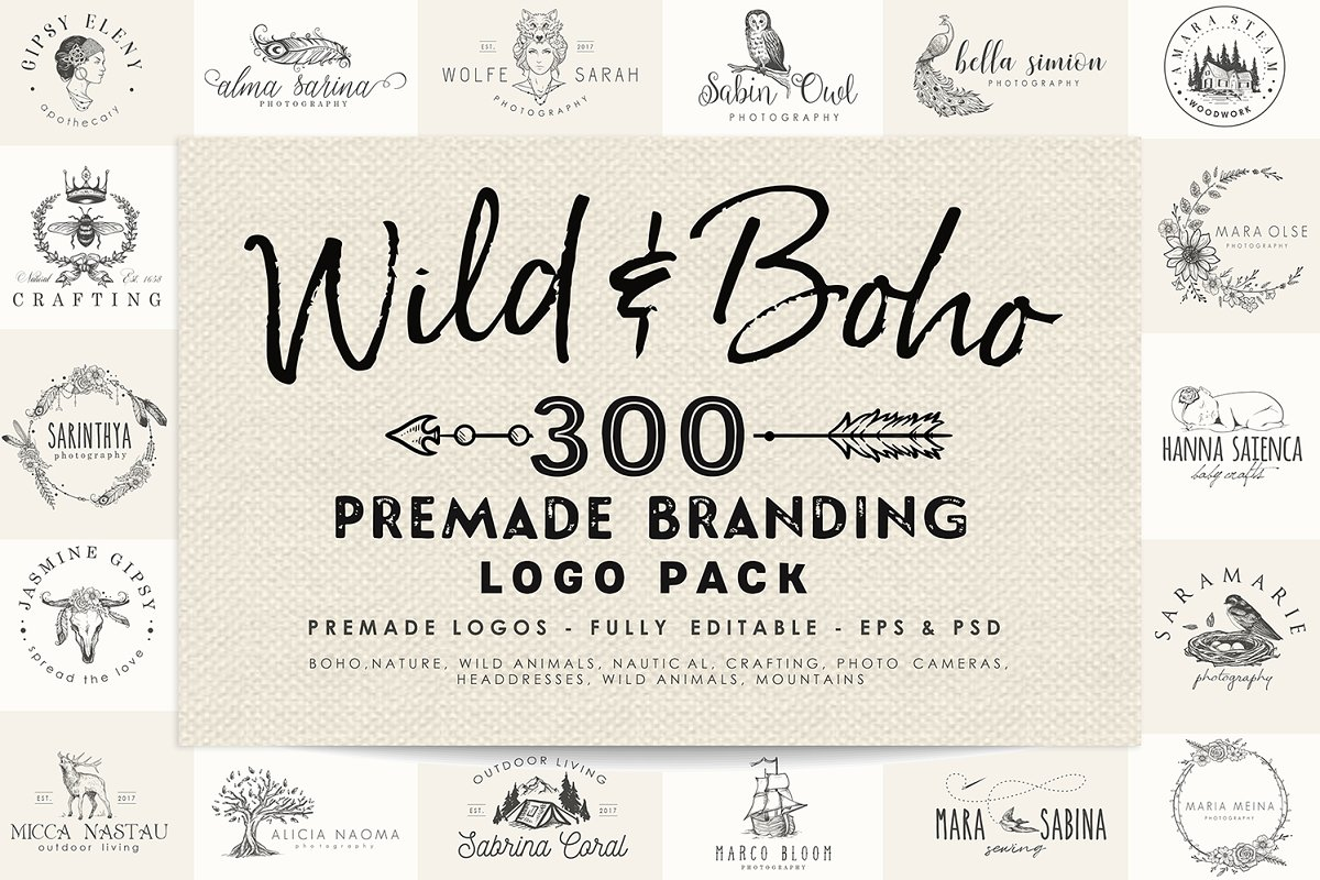 Wild And Boho Premade Logo Bundle
